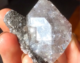 Nice Herkimer Diamond quartz crystal on matrix with dolomite