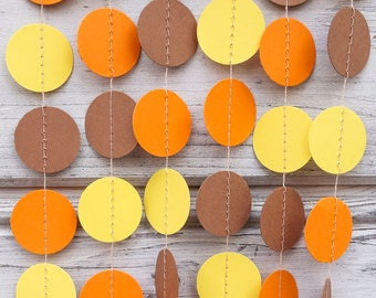 orange and yellow paper garland copper garland yellow weddings pumpkin paper garland - Pumpkin Decor