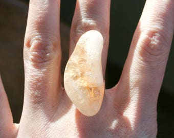 Raw Citrine Quartz Polished Nugget Ring - Adjustable