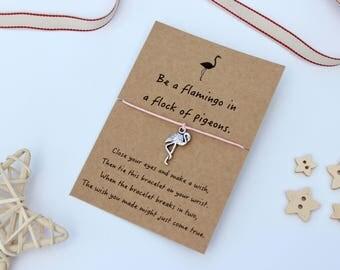 Flamingo Wish Bracelet, Flamingo Jewellery, Flamingo Gift, Friendship Bracelet, Cord Bracelet, Flamingo Charm, Charm Bracelet,