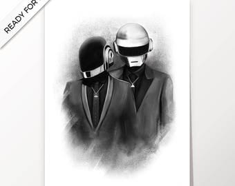 Daft Punk, electro music, artwork, handmade, PRINTABLE art, poster, instant download, digital print, interior, home decor,wall art, download