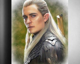 Legolas, Orlando Bloom, The Lord of the Rings, The Hobbit, artwork, handmade, PRINTABLE art, poster, download, digital print,decor, wall art