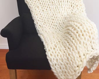Large Merino Wool Throw (Pearl White)