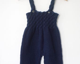 Hand Knitted Baby Overalls Romper - Baby Dungarees - Merino Wool Baby Pants, 6-9 Months