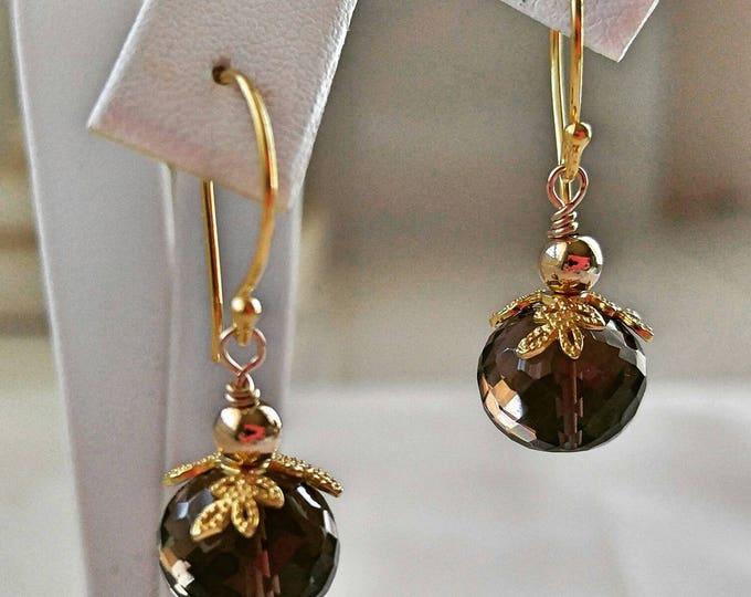 Smokey quartz earrings, 18k gold Vermeil earrings, Smokey Topaz dangle and drop earrings, gold Vermeil filigree earrings. Handmade earrings.