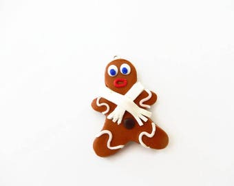 Gingerbread boy fimo and scarf