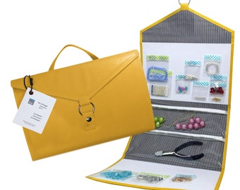 Craft +Jewelry Travel Organizer ENVELOPE by Kit xChange® Marigold, Vegan Leather - Organizer for Beads + Planner and Scrapbook Supplies.