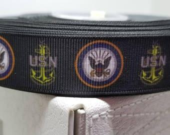 US Navy Grosgrain Ribbon  - USN Logo