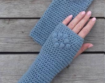 Crochet fingerless gloves, Texting gloves, Touchscreen gloves, Handwarmers, Armwarmers, Wristwarmers, Blue womens gloves, Gift for her