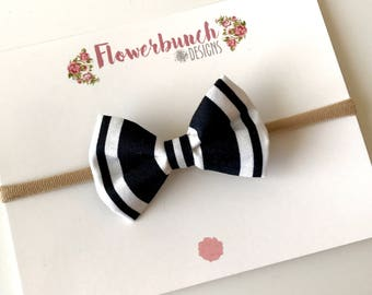 Black and White Striped Bow in Headband or Clip