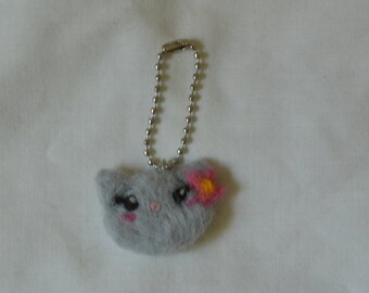 Needle Felted Grey Cat Keychain
