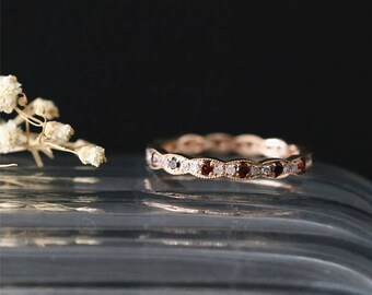 14K Rose Gold Wedding Ring Full Eternity Diamond Ring Milgrain Bezel Garnet Match Band Stackable Birthstone Wedding Band Vintage Bridal Ring