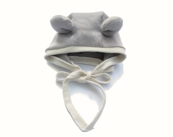 Bear Bonnet - 100% Organic Cotton Knit - Light Gray and Cream