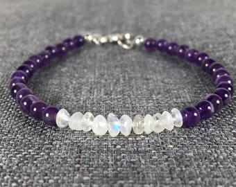 Moonstone and Amethyst Bracelet