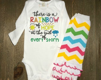 "Rainbow Baby Onesie® and Leg Warmers Set // ""There is a Rainbow of Hope at the end of every storm"" onesie® // Embroidered"