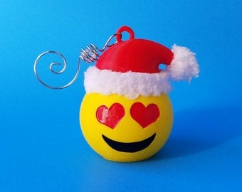 Santa Emoji Holiday Ornament, 3D Printed Hand Painted with Acrylic Paints