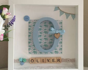 New Baby Boy Gift, Personalised Picture Frame, Monogram Initial, Scrabble Tile Name, Present for Baby Boy, Nursery Wall Art, Home Wall Decor
