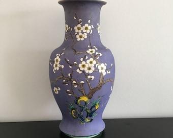 Vintage, Japanese Vase,Large Oriental Vase, Cherry Blossom, Oriental Decor, Lilac Vase, Blue Vase, Asian Interior, Old Vase, Vase,Japan