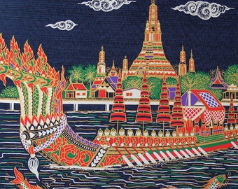 Thai Screen Print on Silk Art Panel, Thai Royal Boat, Wat Arun, Bangkok Silk Wall Decor, Silk Screen Art Picture, DIY Silk Pillow  (TSP-202)