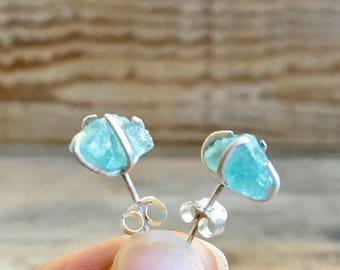 Raw Stone Earrings // Blue Apatite Gemstone // Crystal Studs // Handmade Prong Setting