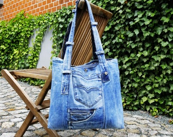 Beach bag XXL from jeans, shoulder bag, recycled jeans, beach tote