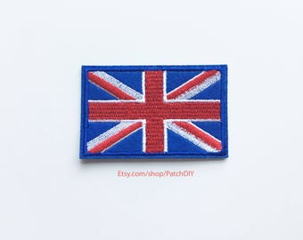 1x UK flag patch - United Kingdom Queen British Union Jack Iron On Embroidered Applique logo red blue white