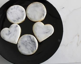 1 Dozen Marble Cookies With Gold Trim