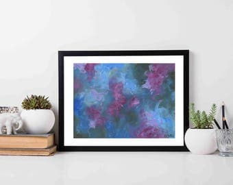 Into the night - modern art print, blue and pink art, modern art, abstract painting, abstract art print