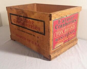 1940s Cranberry Eatmor Wooden Crate