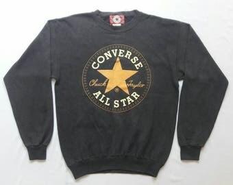 VINTAGE 1990'S Converse Chuck Taylor Pullover Sweatshirt Big Logo Made in USA