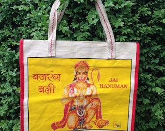 Indian silk screen printed canvas bag - Hanuman