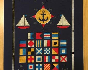 Nautical Flags Cross Stitch, Finished and Framed
