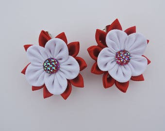 Kanzashi Fabric Flowers. Set of 2 hair clips. Red and White.