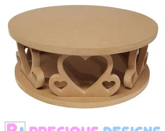 Circular heart cake stand, Wedding Party MDF Display Crafts Anniversary wood