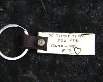 Personalized Brass & Leather Keyring
