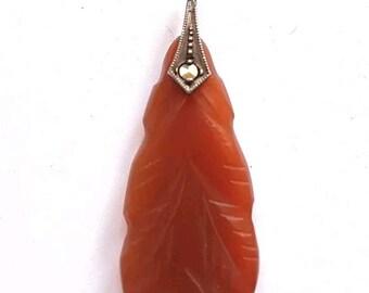 Vintage Art Deco red Jade Jadeite carved pendant