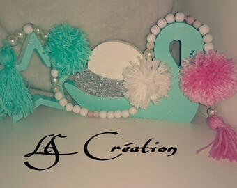 Garland string of wooden beads and tassel mint pink