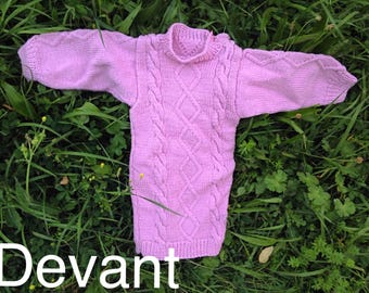 Handmade with 2 twist knitted girl sweater