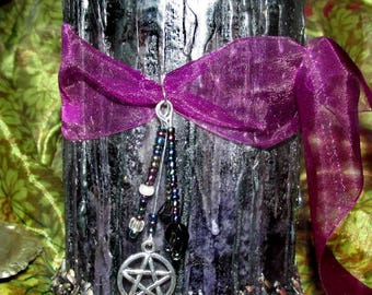 Temple Candle Large Scented Pillar Pentacle Charm Dressed Wicca Pagan Witch Occult Ritual Ceremonial Metaphysical