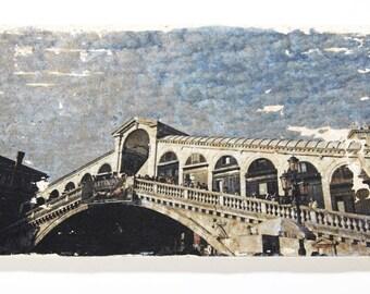 T249 Handmade Travertine Tile - The Rialto Bridge in Venice, Italy
