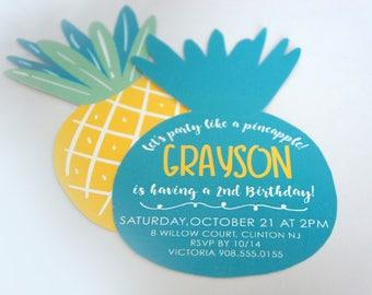 Pineapple Summer Birthday Invitation - Laser Cut