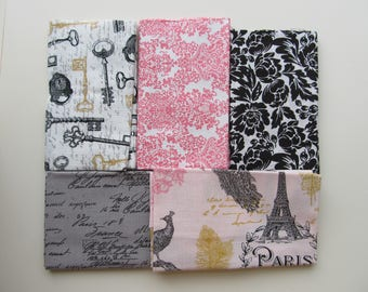 Fabric Bundle 5 Fat Quarters FQ Paris Eiffel Tower French Words Skeleton Keys Pink Damask Black Flowers Cotton