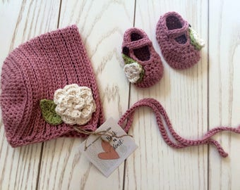 Baby Girl Crochet Pink Sun Bonnet with White Rose and Ties, Preemie/Newborn-6 Months