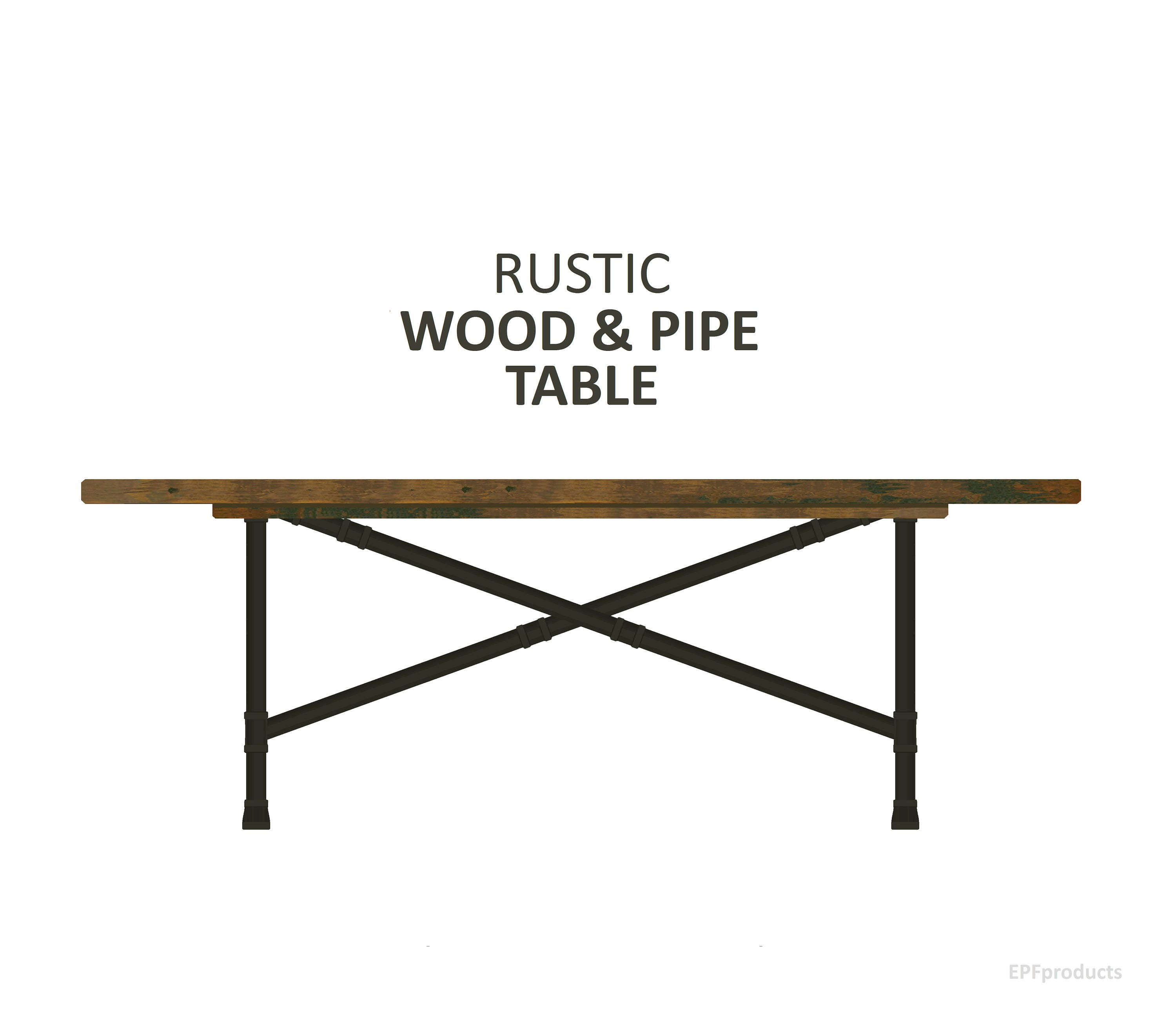 X pipe dining table rustic wood pipe table trestle table for Rustic pipe table