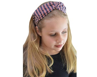 July 4th - American Headband - 4th of July outfit - Patriotic Headband - Fourth July Outfit - Patriotic Outfit - Boho Wide Headband