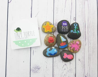 Underwater story stones, story telling set, birthday gift, unique gift, children's gift, handpainted gift