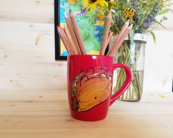 Taco Art Coffee Mug/ Taco Mug/ Tacos/ Taco Art/ Hand Painted Coffee Mug/ Hand Painted Taco Coffee Mug/ Taco Coffee Cup/ Fun Taco Art Mug