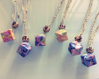 Kusudama Origami with Kanji necklace all handmade