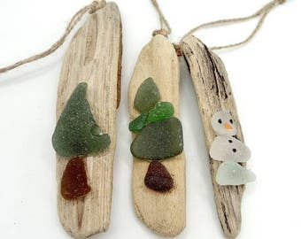 driftwood and sea glass decoration