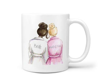 Wedding Gift for Bride, Bride Gift, Maid of Honor Gift, Engagement Gift for Women, Bridal Shower Gift for Her - Coffee Mug - Bride and MOH